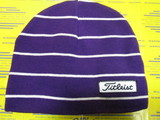 US Women's Striped Beanie-Purple