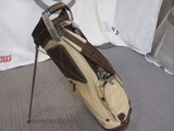 Canvas/Leather Stand Bag-Natural/Brown